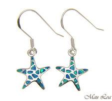 925 Silver Rhodium Hawaiian Starfish Sea Star Blue Opal Hook Wire Earrings