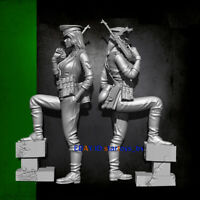 Unpainted 1/35 Resin Female Soldier With Base Model Kit Unassembled Figure GK