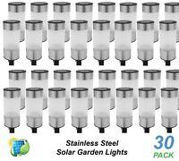 30 Pack Stainless Steel LED Solar Garden Path Mini Bollard Lights Cool White DIY