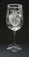 Human Heart Engraved Wine Glasses Set of 2 Brain Glass Anatomical Heart