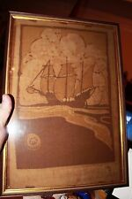 Art Nouveau Print on silk of the Mayflower in beige & gold signed