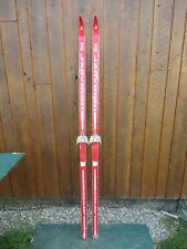 """VINTAGE HICKORY Wooden 78"""" Snow Skis RED Finish GREAT DECORATION"""