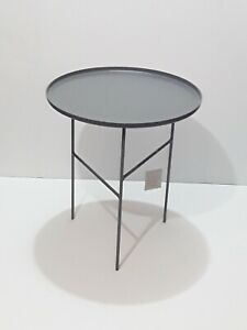 "Project 62 Elgin Round 19""x17"" Steel Accent Table Matte Gray NEW"