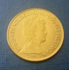 Authentic 1917 Netherlands 10 Gulden Gold Coin Wilhelmina I. (Queen, 1890-1948)