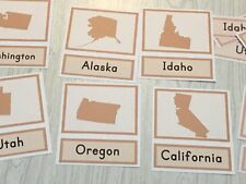 Identifying Fifty States - Three Part Cards - Montessori