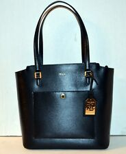 Lauren Ralph Lauren Lowell Modern Pocket Leather Tote Handbag Black NWT
