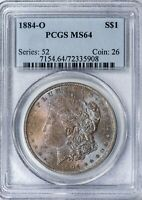 1884-O Morgan PCGS MS64 Blue and Burgundy Toned Silver Dollar