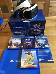 sony playstation VR headset PSVR starter pack boxed games farpoint angry birds