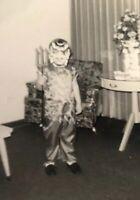 Vintage Halloween Photo Snapshot Mid Century Devil Costume Awesome