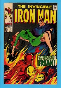 IRON MAN # 3 FN+ (6.5) The FREAK - SOLID & GLOSSY UNSTAMPED US CENTS COPY - 1968