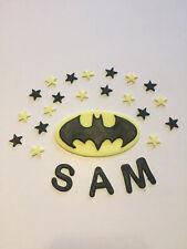 Edible Batman sugarpaste Cake Topper With Stars And Name marvel Sugar