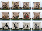 45*45cm Vintage Rabbit Chicken Egg Jungle Happy Easter Pillow Case Cushion Cover