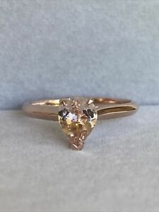 Michael Hill 10k Rose Gold Pear Shape Morganite Solitaire Ring Size O 1/2
