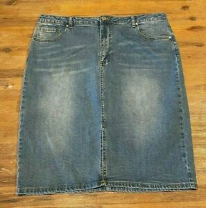 Ladies size 18 blue  denim pencil skirt front split stretch NOW   NEW