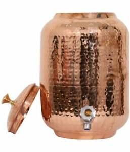 100% Pure Copper Dispenser Handmade Water Pitcher Pot 4 LTR Water Storage Tank