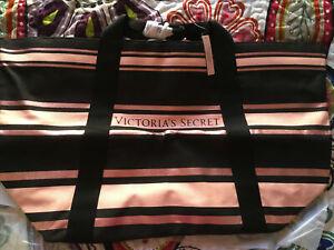 NWT VICTORIA SECRET Ltd Ed Pink Black Stripe Weekender Overnight Canvas Tote Bag