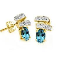 Diamond Yellow Gold 14Carat Fine Gemstone Earrings