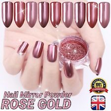 ROSE GOLD CHROME MIRROR POWDER Pigment Nail Art Champagne Shining Effect (GR)