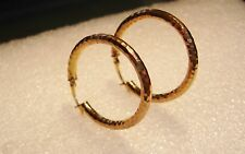 VERMEIL STERLING SILVER DIAMOND CUT HOOP PIERCED EARINGS N624-B