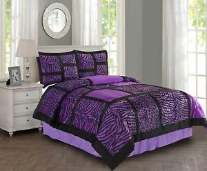 New Chic Pink Purple Zebra Animal Patchwork  4 pcs King Queen Comforter Set