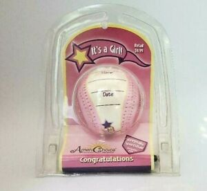 AmeriChoice Its a Girl Baseball Birth Announcement Keepsake Pink White