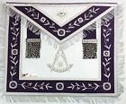 Masonic Past Master Royal Purple Hand Embroidered Made  Apron with Silver Fringe