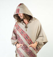 Handmade Poncho with Hoodie Grey YAK Cashmere Wool, Earthy Tribal Pattern