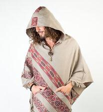 Handmade Poncho with Hoodie Grey YAK Cashmere Wool, Earthy Tribal Pattern