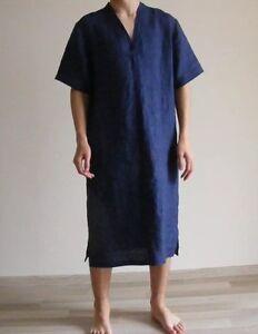 Mens Linen Pajama Nightshirt HomeTUNIC Soft 100% Linen