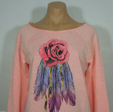 STRANDED Juniors Printed Feather Rose Knit Top size S (NEW)
