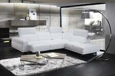 Snow White Top Grain Leather Sectional Sofa Bed RHC J&M Davenport Contemporary