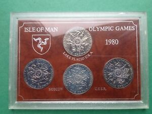 ISLE OF MAN H.M. Q.E.11 OLYMPIC GAMES 1980 WINTER & SUMMER CROWNS (SET OF 4 )