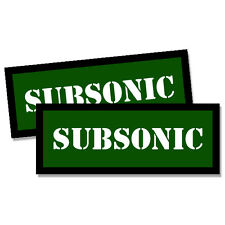 """SUBSONIC Ammo Can GREEN 2x Labels Ammunition Case 3""""x1.15"""" sticker decals 2 pack"""