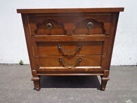 Vintage Regency Nightstand Bedside Table Glam French Provincial Mid Century
