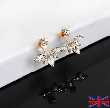 Hot Fashion - Uk Free P&P Crystal Stud Ear Jacket Earrings in Gold