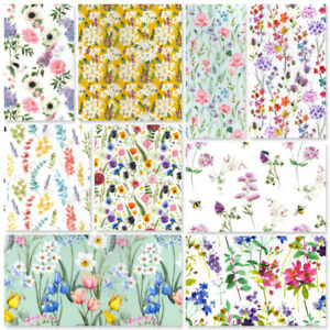 Cotton Fabric Spring Summer Easter Tulips Wildflowers Meadow Daffodils Lilacs