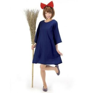 Ghibli Kiki's Delivery Service Blue Dress Halloween Fancy Dress Cosplay Costume