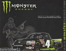 "2010 RICKY CARMICHAEL ""MONSTER ENERGY"" #4 NASCAR CAMPING WORLD TRUCK POSTCARD"