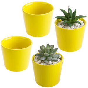 MyGift Set of 4 Small Cylindrical 3.5 Inch Yellow Ceramic Flower Planter Pots