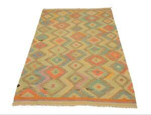 Afghan Kelim 301x192 cm Handgewebter Orient Kelim Neu Multicolor Pastelfarben