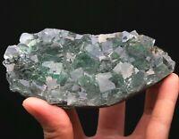 353g Rare NATURA Transparent Green Cube Fluorite Crystal Mineral Specimen/China