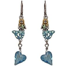 Sea Mermaid Earrings Antique Silvertone/Aqua New Kirks Folly Siren Of The
