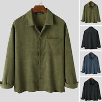 INCERUN Mens Corduroy Tops Buttons Open Casual Loose Long Sleeve Shirt Blouse UK
