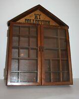 "Wood Wall Curio Cabinet Shadow Box Glass Doors House Shaped 14"" x 2.25"" x 19.5""H"