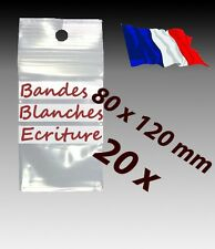 LOT 20  sachets  plastique zip 3 bandes 80x120 8x12