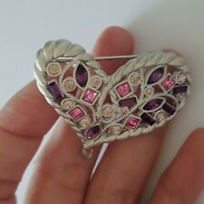 Red&Pink Crystal Brooch Pin. So Cute,Sweet Love Silver Heart