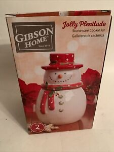 Christmas Cookie Jar Gibson Home Stoneware 2 Piece Set Holiday Jolly Snowman New