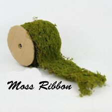 MOSS WiRED RIBBON 10cm  (pullsout to 15cm.) x 2mt roll. -Great for table runners