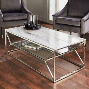 Marble Effect Glass Coffee Table - Chrome Metal Frame