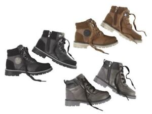 Kids Boys Girl Ankle Boots Leather effect Zip Black Grey Winter Autumn Children